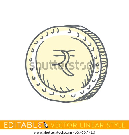 Indian Rupee Doodle Style International Currency Stock Vector
