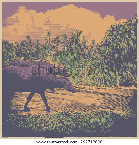 Indian rural landscape with cows and palms trees. color variant. engraving style. vector illustration - stock vector
