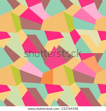 Indian Seamless Patchwork Pattern. Colorful Indian Carpet. Vector Background - stock vector