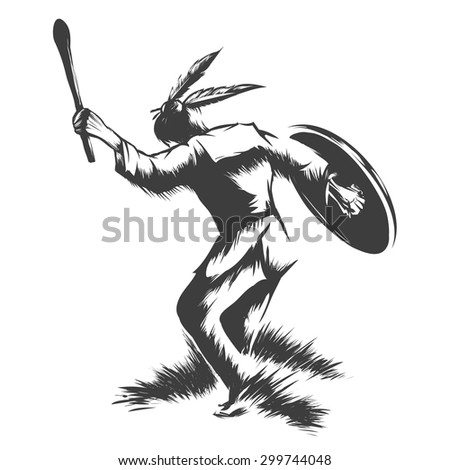 Indian shaman with bull skin drum and stick. Ritual dance of native Americans. Monochrome isolated on white background. - stock vector