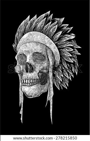 Indian Skull - stock vector