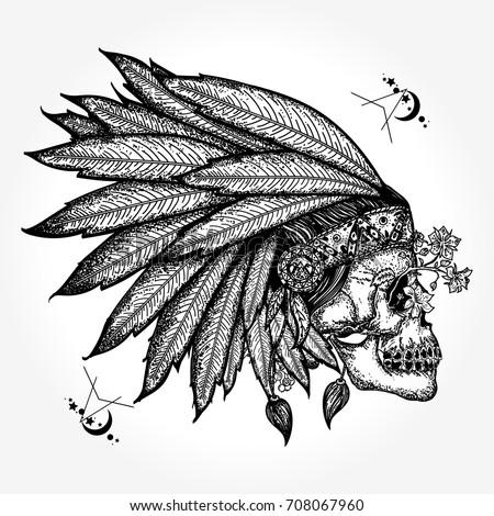 indian skull tattoo art warrior symbol stock vector 708067960 shutterstock. Black Bedroom Furniture Sets. Home Design Ideas
