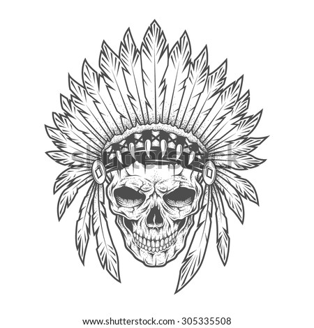 Indian skull with feathers. - stock vector
