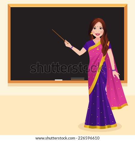 Indian teacher wearing a saree holding a stick in front of blackboard - stock vector