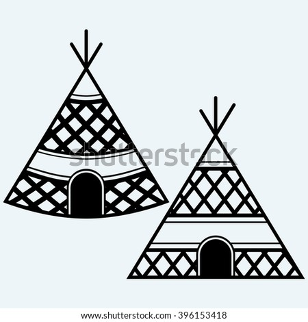Indian tepee. Isolated on blue background. Vector silhouettes - stock vector