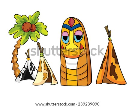 indian tipi and wooden idol, set, vector illustration on a white background - stock vector