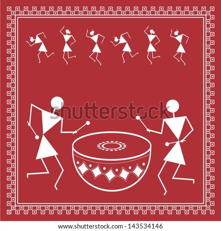 Indian tribal painting warli painting stock vector 2018 143534146 indian tribal painting warli painting altavistaventures Gallery