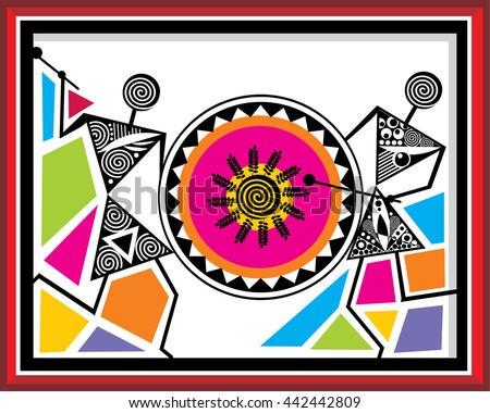 Indian tribal paintings warli painting stock vector 442442809 indian tribal paintings warli painting thecheapjerseys Image collections