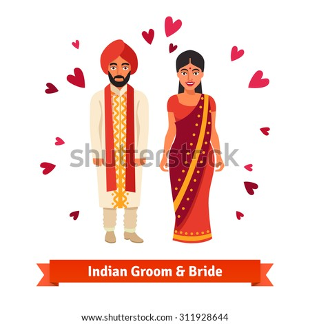 Indian wedding, bride and groom in national costumes. Hindu people standing surrounded by hearts symbols of love. Flat style vector illustration isolated on white background. - stock vector