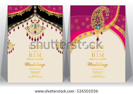Indian Wedding Card Gold Crystals Color Vector 526501036 – All Indian Wedding Cards
