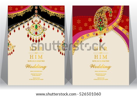 Indian Wedding Card Gold Crystals Color Stock Vector 526501060 ...