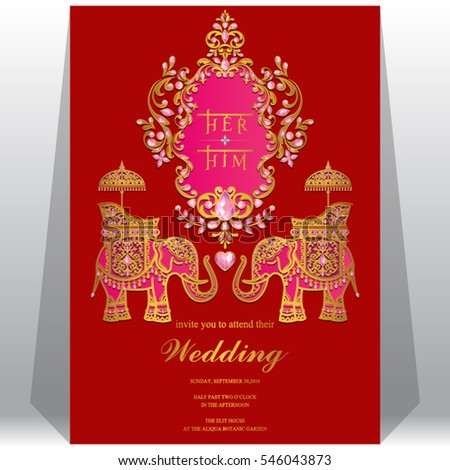 Indian wedding invitation card templates gold stock vector indian wedding invitation card templates with gold elephant patterned and crystals on paper color stopboris Image collections