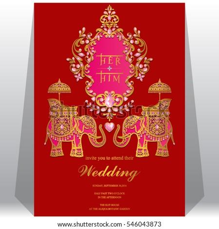 indian wedding invitation card templates gold stock vector 546043873 shutterstock. Black Bedroom Furniture Sets. Home Design Ideas