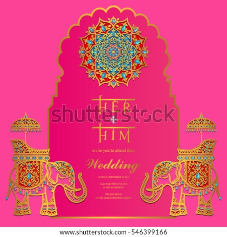 Indian wedding invitation card templates gold stock vector indian wedding invitation card templates with gold elephant patterned and crystals on paper color stopboris Choice Image