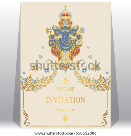 Indian Wedding Invitation Card Templates Gold Vector – Indian Wedding Card Sample