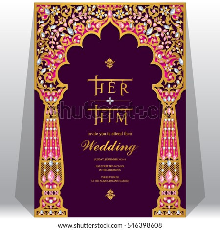 Indian Wedding Invitation Card Templates With Gold Patterned And Crystals On Paper Color