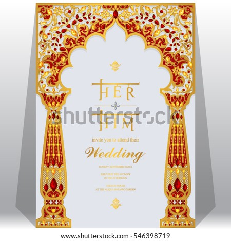 Indian wedding invitation card templates gold stock vector royalty indian wedding invitation card templates with gold patterned and crystals on paper color stopboris Choice Image