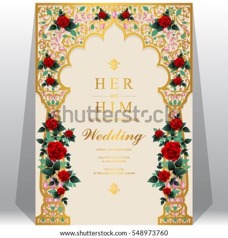 indian wedding invitation card templates gold stock vector 548973808 shutterstock. Black Bedroom Furniture Sets. Home Design Ideas