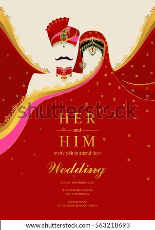 indian wedding invitation card templates with gold patterned and crystals on paper color - Indian Wedding Invitation