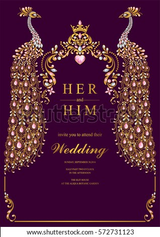 Indian Wedding Invitation Card Templates Gold Stock Vector 572731123