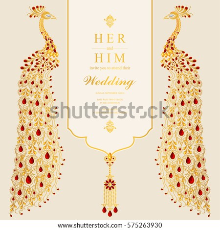 Indian wedding invitation card templates gold em vetor stock indian wedding invitation card templates with gold peacock patterned and crystals on paper color stopboris Images