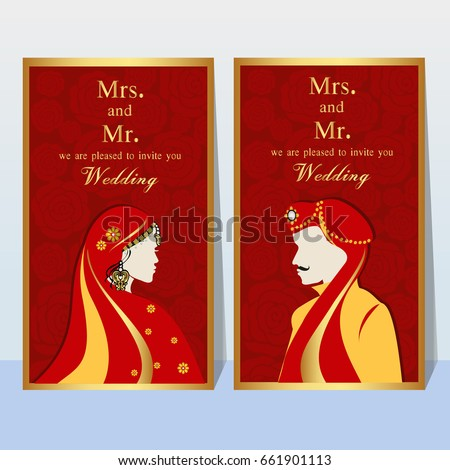 Indian Wedding Invitation Card With Abstract Background.Template Frame.  Perfect Cards For Any Other