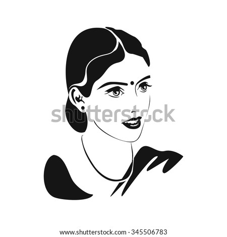 Indian woman. Karva Chauth. Portrait of a married Indian woman with mangala sutra,  bindi on the forehead and a happy smile. Monochrome vector illustration