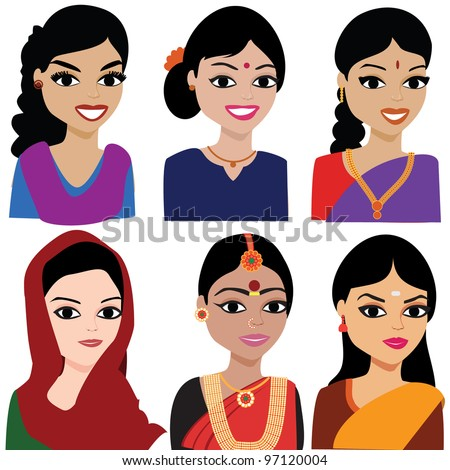 Indian woman vector avatar - Indian woman representing different states of India. - stock vector