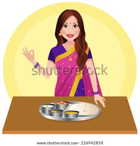 Indian woman with Indian food on table - stock vector