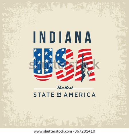 Indiana best state in America, white, vintage vector illustration