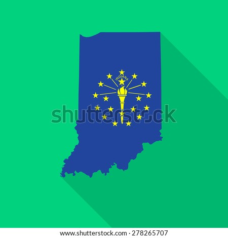 Indiana flag,map flat icon with long shadow. Vector EPS10