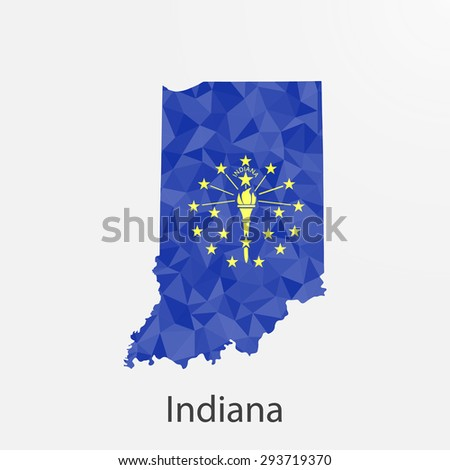 Indiana flag map in geometric,mosaic polygonal style.Abstract tessellation,background. Low poly vector illustration EPS10