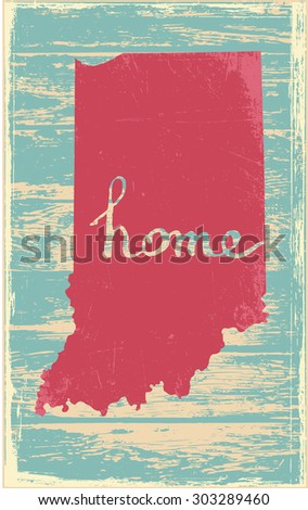 Indiana nostalgic rustic vintage state vector sign - stock vector