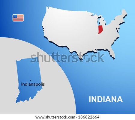Indiana on USA map with map of the state