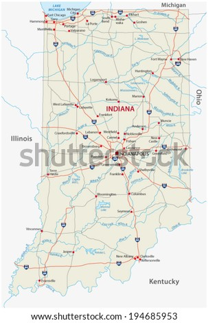 Indiana Map Stock Images RoyaltyFree Images Vectors Shutterstock - Road map of indiana