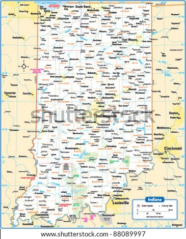 Indiana State Map Stock Vector Shutterstock - State of indiana map