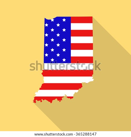Indiana state map in style of USA national flag. Flat style with long shadow