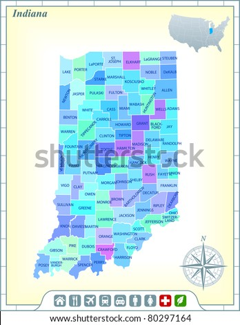 Indiana State Map with Community Assistance and Activates Icons Original Illustration - stock vector