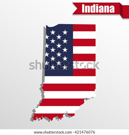 Indiana State Map Us Flag Inside Stock Vector 421476076 Shutterstock