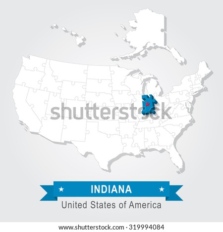 Indiana state. USA administrative map.