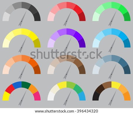 Indicator bright color set with pointer needle. Arrow indicator set, power panel, needle arrow, barometer or tachometer equipment or instrument. Vector abstract flat design illustration - stock vector