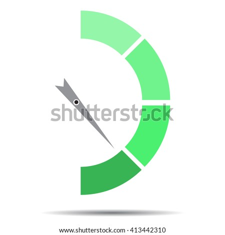 Indicator green with pointer needle. Index pointer arrow and car indicator, measure spectrum pointer power panel. Vector flat design illustration - stock vector