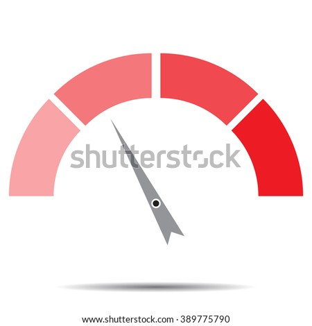 Indicator red with pointer needle. Index and pointer, arrow indicator, measure and infographics, control technology, measurement spectrum, power panel. Vector abstract flat design illustration - stock vector