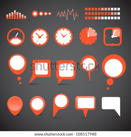 Indicators and speech clouds collection - stock vector