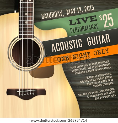Indie musician concert show poster with acoustic guitar vector illustration - stock vector