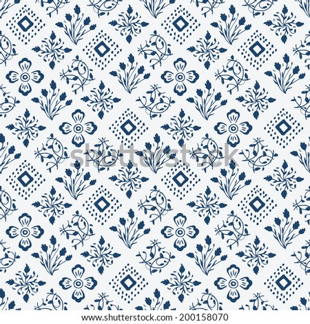 Indigo blue hand drawn seamless pattern, vector - stock vector