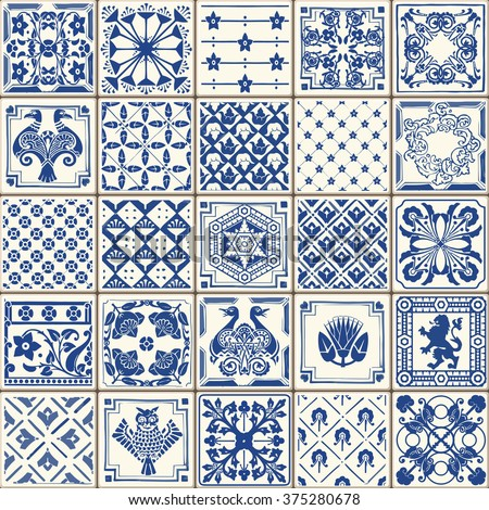 Indigo Blue Tiles Floor Ornament Collection Gorgeous Seamless Patchwork Pattern Colorful Painted Tin Glazed Ceramic Tilework Vintage Illustration web page template background Vector Pattern Image. - stock vector