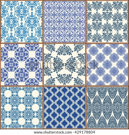 Indigo Blue Tiles Floor Ornament Collection. Gorgeous Seamless Patchwork Pattern from Colorful Traditional Painted Tin Glazed Ceramic Tilework Vintage Illustration Vector template background  - stock vector