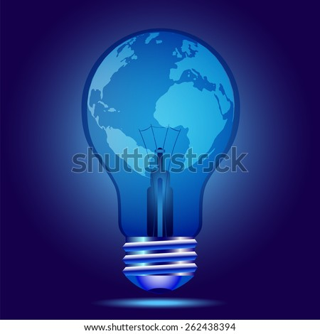 Indigo light bulb with globes. Autism awareness - stock vector