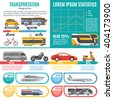 Individual and public transport infographics with bus tram train cars motorbike bicycle  graphs and statistics vector illustration - stock vector